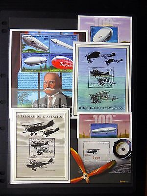CONGO History of Aviation with Zeppelin & Fighters 7 Items U/M NB152