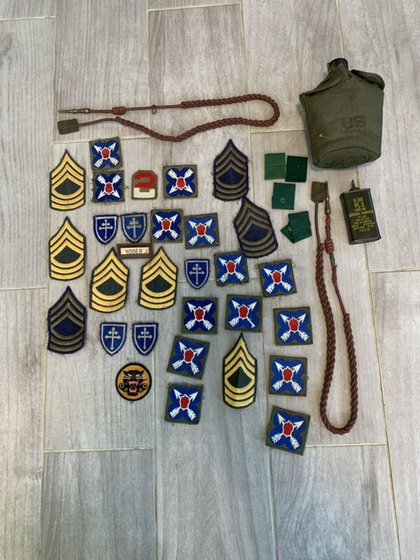 Large Lot Of Military. Patches Canteen And Oil Can. Ww2 Lot