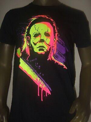 New Men's M-2X Michael Myers Halloween Neon Horror Movie Psycho Knife Mask Shirt (Halloween 2 Knife)