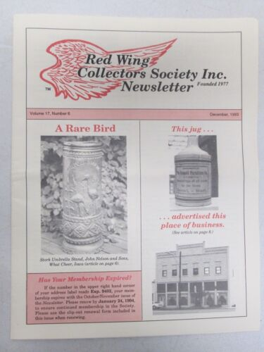 Red Wing Collectors Newsletter December 1993 Rare Stork Umbrella Stand Found