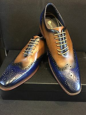 NEW CARRUCCI Wingtip Oxford Multi Color Lace Men's Dress Leather Shoes Size 11