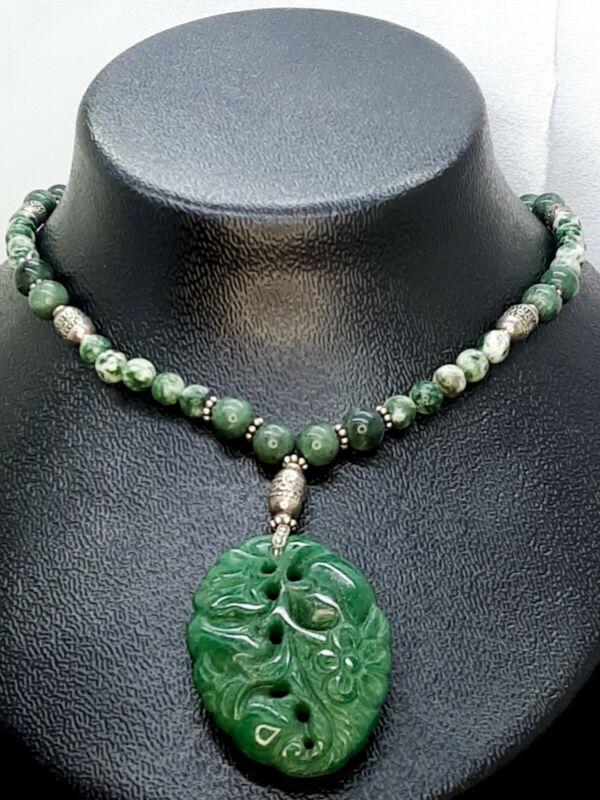 Vintage Carved Jade Beaded Pendant Necklace Estate Find