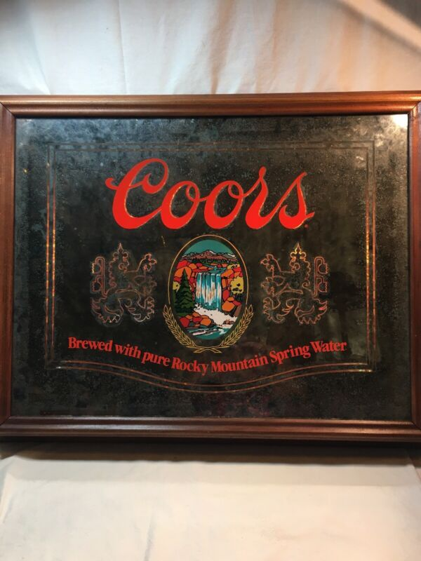 VTG 1980 Coors Indoor Light Up Sign Smoky Mirror With Water Fall!