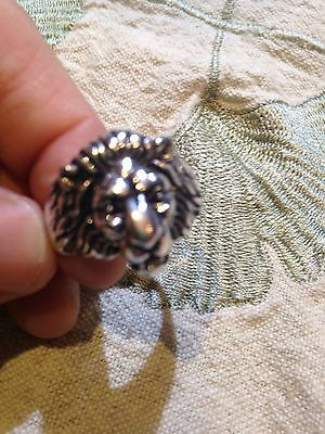 Vintage 1980's Silver white bronze Medium Lion Head Crest Size 12 Men's Ring