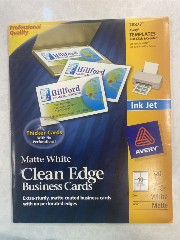 AVERY #28877 Matte White Clean Edge Ink Jet White BUSINESS CARDS 120 Thick Cards