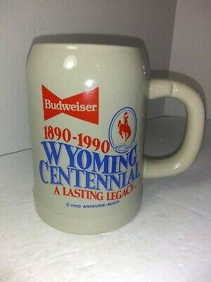 Anheuser Busch Budweiser 1990 BUDWEISER STEIN  WYOMING CENTENNIAL  1890-1990