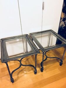 2 LARGE ANTIQUE ITALIAN STYLE WROUGHT IRON COFFEE END SIDE TABLE