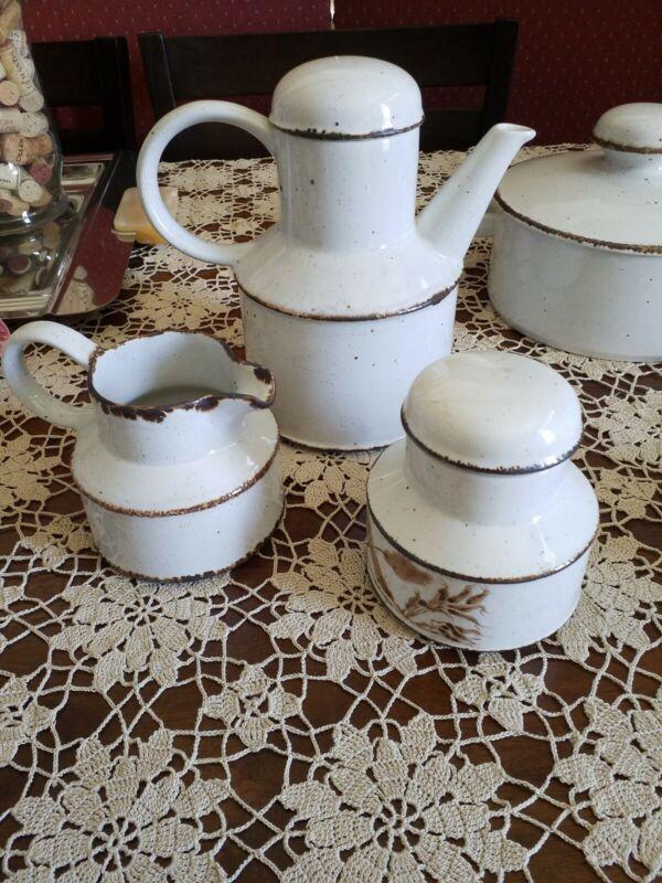 Midwinter Stonehenge Wedgwood Creation, Coffee Pot, Cream and Covered Sugar