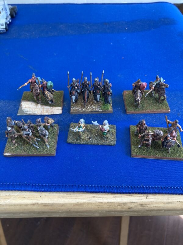 24x 15mm Painted Medieval Infantry Cavalry DBA FIGURES DETAILED ON BASES