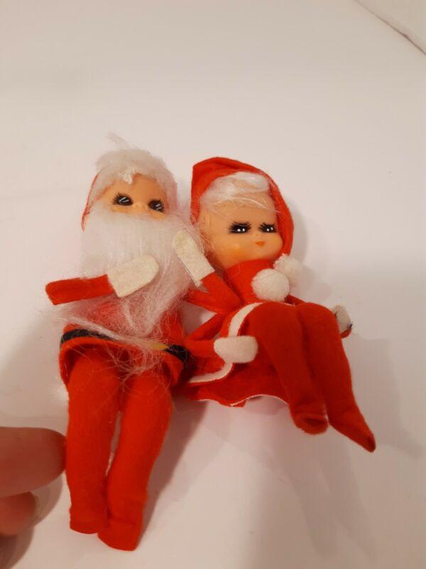Vintage Japan Santa & Mrs. Claus Bendable Elves, Knee Hugger Elf Pair, Very Nice