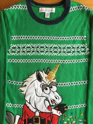 Ugly Christmas Sweater Jolly Sweaters Unicorn Santa Suit Size Small Green B3 for sale  Knoxville