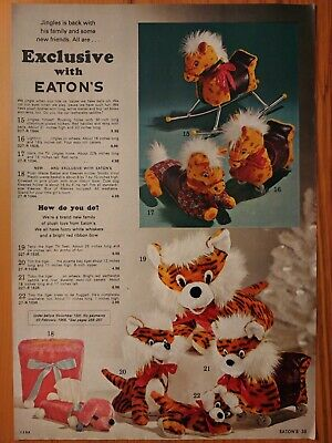 1965 Vintage PAPER PRINT AD Jingles on wheels horse Terry Tim Tobby tiger plush