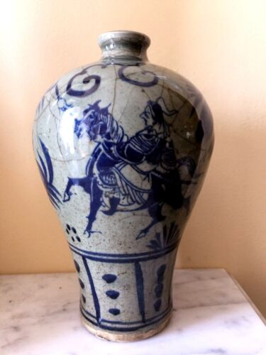 ANTIQUE ASIAN CHINESE H/PAINTED BLUE ON WHITE HORSE CRACKLE VASE SIGNED