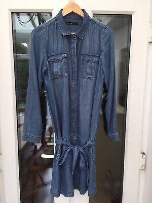 Size 12 UK Karen Millen DV277  Blue Soft Luxe Denim Shirt Low Waist Summer Dress