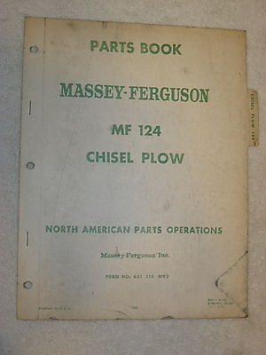 Original Massey Ferguson Mf 124 Chisel Plow Parts Book Manual