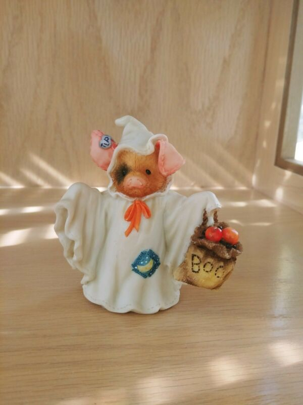 """This Little Piggy Figurine """"Squeal With Fright"""" Enesco 1995"""