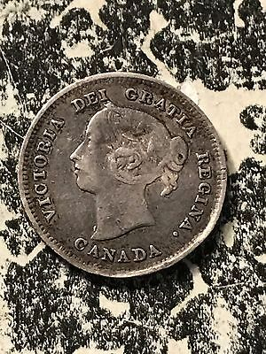 1889 Canada 5 Cents Lot#7486 Silver! Key Date! Bent