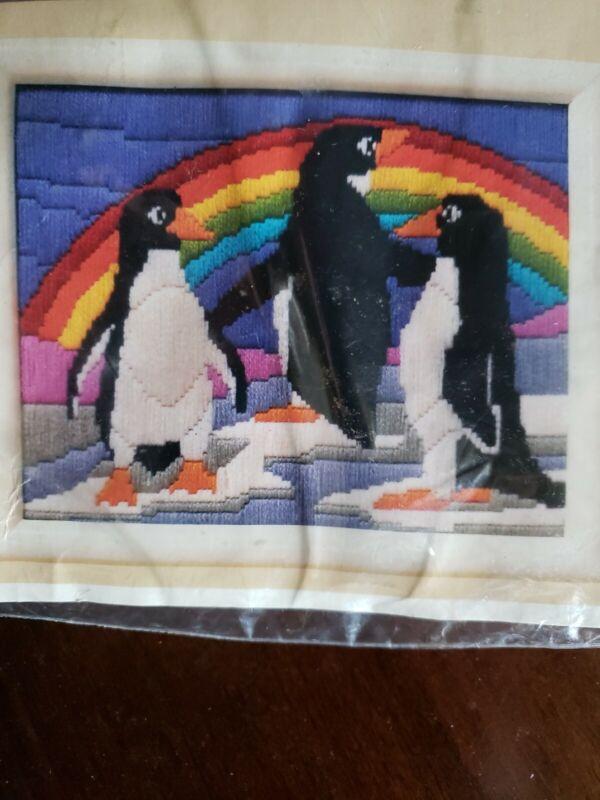 The Creative Circle Needlepoint Kit #1431 Rainbow Penguins NEW Sealed