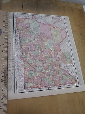1898 Colored State Map of Minnesota with Wisconsin on Reverse