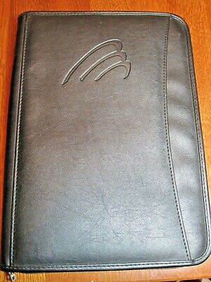Leeds Full Zippered Portfolio Faux Leather Black Many Pockets Writing Pad