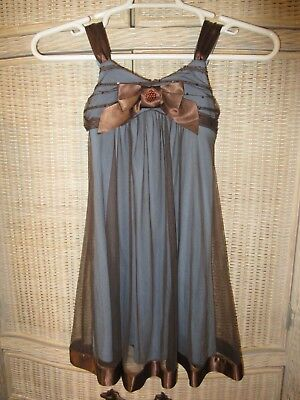Bonnie Jean Girls Blue Dress w/Sheer Brown Overlay & Bow! Size 10 FREE SHIPPING!