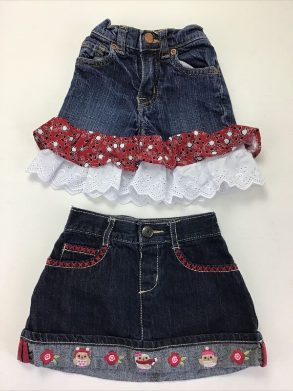 Lot Of 2 Girls Jean Skirts, Size 12-18 Months.  Gymboree, Childrens Place