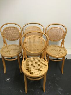 4 Wooden Bentwood Chairs Rattan Style Alberton Port Adelaide Area Preview