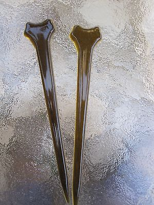 """2 Tee Hair Sticks Faux Tortoise Shell Color 5 1/4"""" Made In USA NEW"""