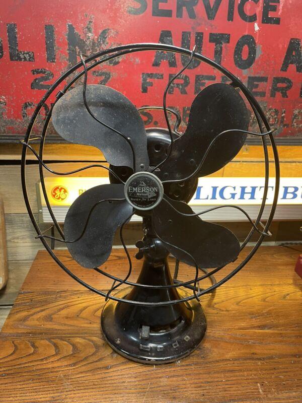 "Antique Emerson Electric Fan 12"" #73646 AK Works Oscillates"