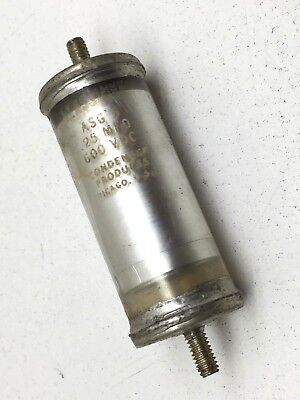 Vintage Glassmike Glass Mike Asg5 Oil Capacitor .25mfd 600vdc