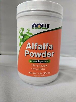 NOW Foods Alfalfa Powder Green Superfood 1lb 454g Pure Powder Non-GMO Vegan 12/1