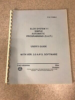 Elox System 11 Simple Automatic Programming S.a.p. Users Guide