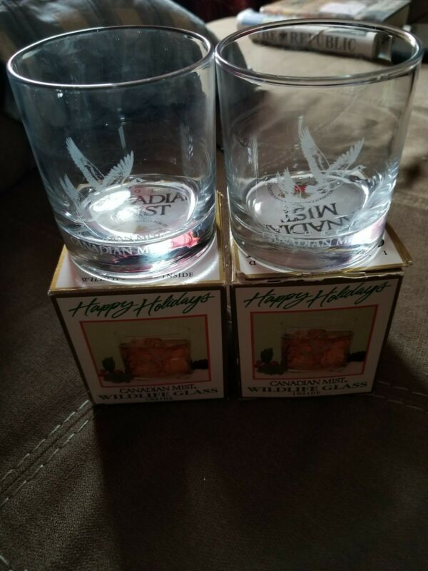 2 Canadian Mist 1994 Wildlife Rocks Glasses Canadian Geese Etched New Old Stock