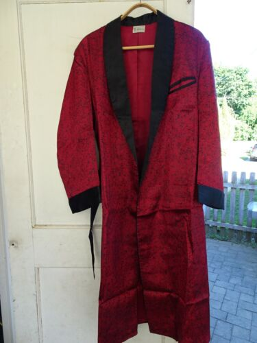 Vintage Mens Mathewson Robe Smoking Jacket Burgundy Wine Red Satin Silk, M/L New