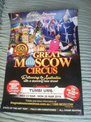 1 X POSTER THE GREAT MOSCOW CIRCUS 42 X 30 CM EDGLEY ATTRACTIONS AUSTRALIA