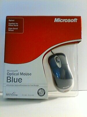 Microsoft Optical Mouse Blue USB PS2 Compatible Wired Scroll Wheel K81-00004 New