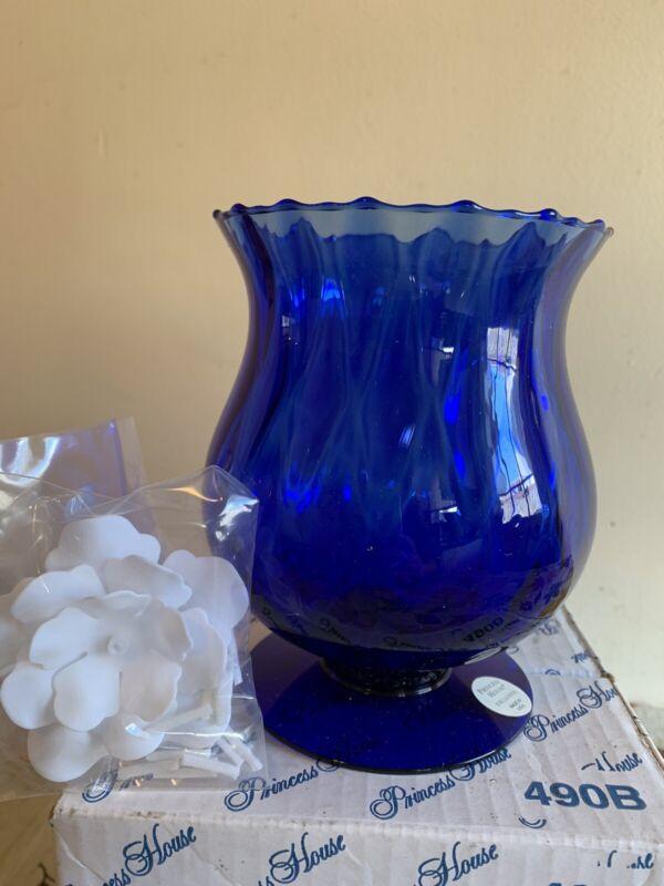 Princess House Sapphire Blue Handblown Crystal Floating Candle Holder #490B Vase
