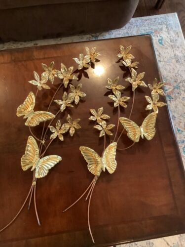 """Vintage set Home Interiors Gold Metal Butterflies Wall Hangings wall accents 26"""""""