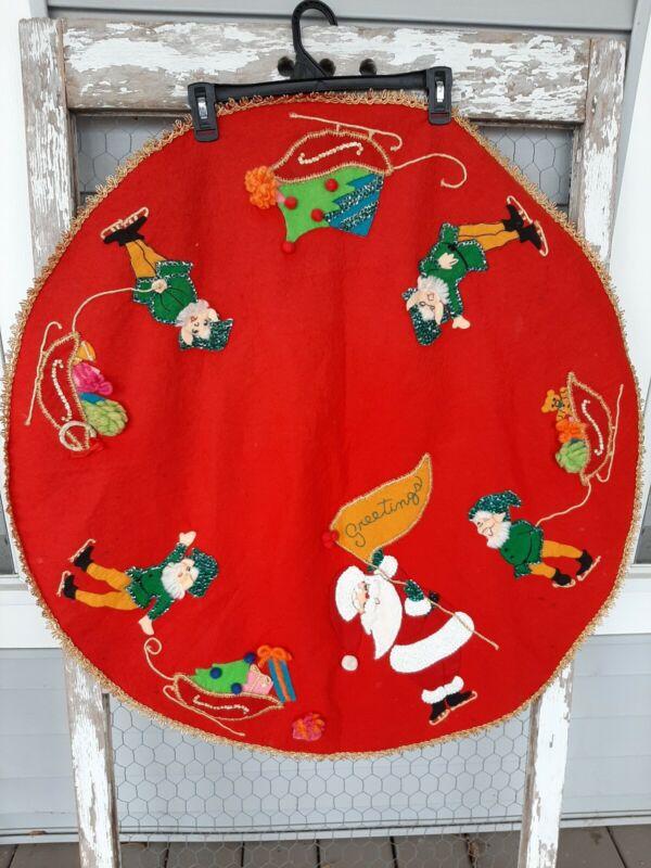 Vintage Christmas Tree Skirt Santa and Elves Sequin Felt Applique Hand Made
