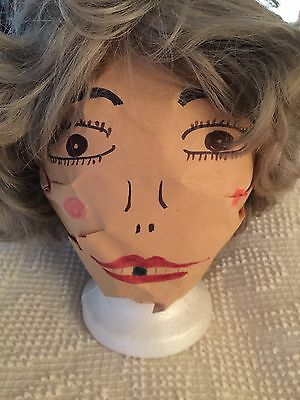 VTG Short Blonde Gray Silver Wig & Stand Halloween Costume 100% Kanekalon Korea](Halloween Korea)