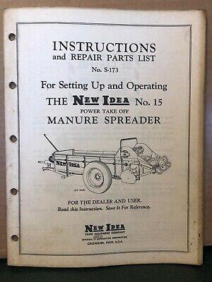New Idea Operating Parts Manual No 15 Pto Manure Spreader