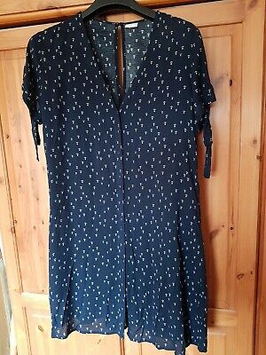 Jacqueline De Yong Size 36 /12 Navy Dress With White Anchors. Ties On Sleeve...