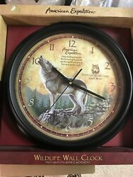 American Expedition Wildlife Gray Wolf Wall Clock