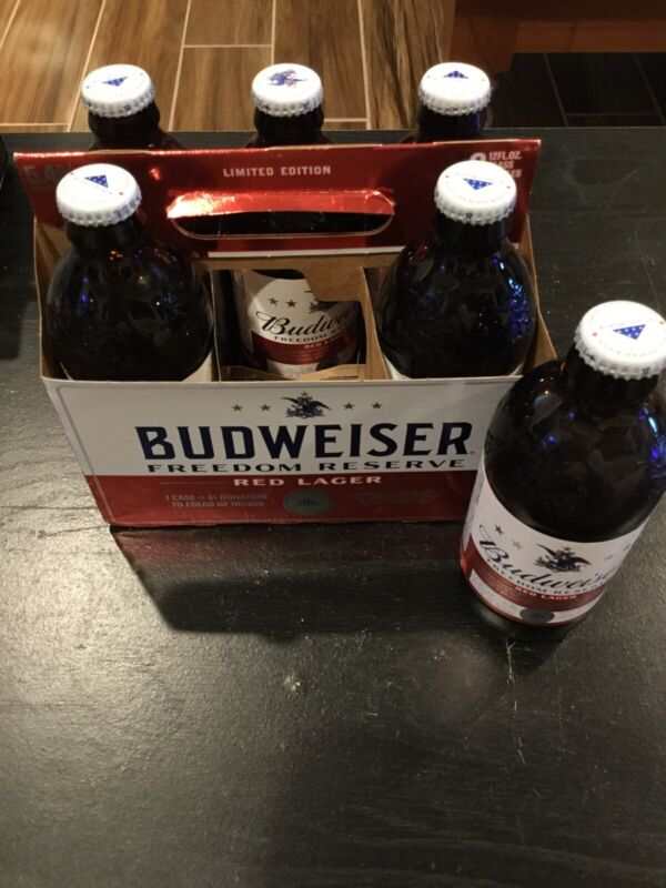 Budweiser Freedom Reserve Red Lager Ltd Ed 6 Glass Bottles And Carton Carrier