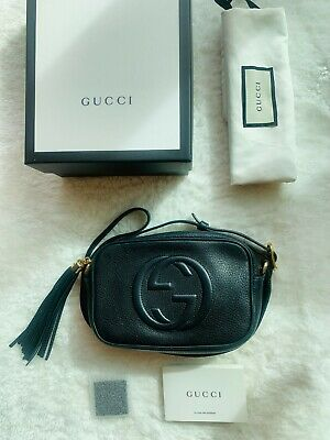 100% Genuine Gucci Mini Black Leather Disco Soho Shoulder Bag