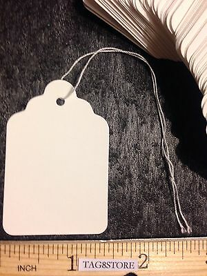 Lot 100 White Large Price Tags 7 Merchandise Tag Blank With String Strung Sales