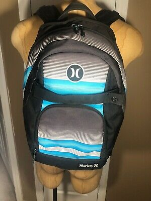 Hurley Honor Roll Backpack With Skate Board Straps Black/Blue Skate Carry