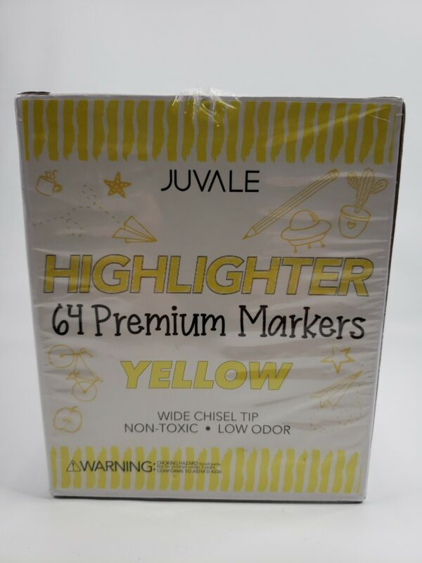 64x Yellow Highlighters Markers Bulk Wide Chisel Tip for Students Schools Office