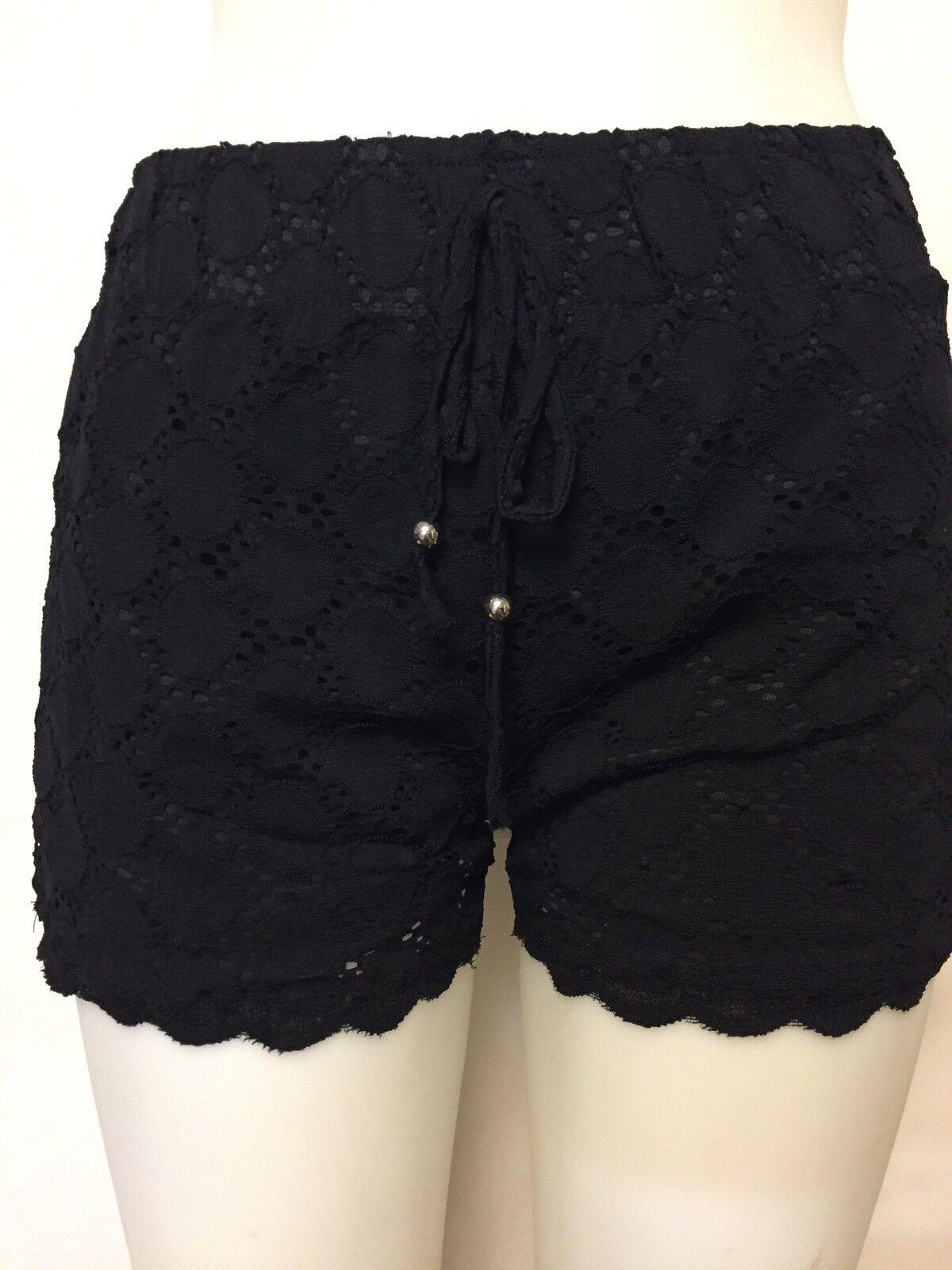 J. Valdi Women's Circle Lace Lined Shorts Black 28347
