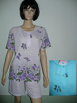 Modal Schlafen Kurz (Damen Schlafanzug, kurz Shorty Baumwolle/Modal  S- XXXL)